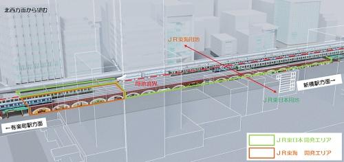 内山下町橋高架下開発計画の対象となる高架橋のうち、山手線・京浜東北線と東海道線はJR東日本の用地、東海道新幹線はJR東海の用地に建設されている。両社グループが協力し、用地区分の制約を外した開発が可能になった(資料:JR東日本)