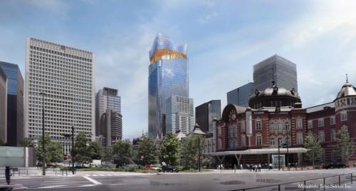 JR東京駅丸の内側から見た、「TOKYO TORCH(トウキョウ トーチ)」全体完成イメージ。2027年度完成予定だ(資料:三菱地所)