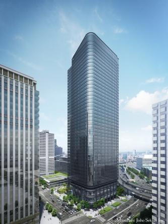 2021年6月末竣工予定の「常盤橋タワー」の外観イメージ。刀を思わせるデザインだという(資料:三菱地所)