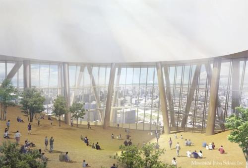 トーチタワーの地上57階に配置するホテルロビー内観のイメージ(資料:三菱地所)
