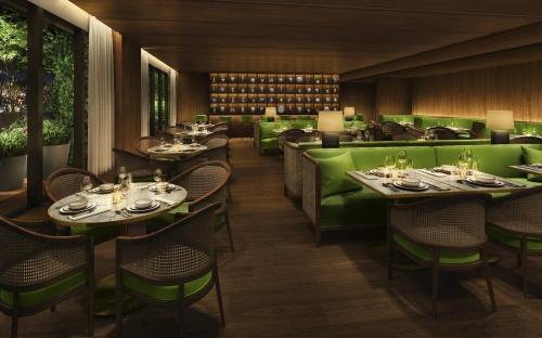 31階、個室を備えるスペシャリティーレストラン「The Jade Room」のオフィシャルイメージ。翡翠(ひすい)のグリーンから着想を得ている。開業は21年の予定(写真:マリオット・インターナショナル)