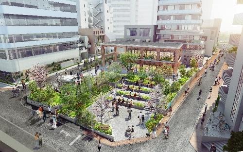 2021年4月にリニューアルオープンする「渋谷区立北谷(きたや)公園」のイメージ(資料:東急、CRAZY AD、日建設計)