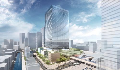 複合施設AとBの完成予想イメージ。計画段階のもので、今後の協議で変更になる可能性がある(資料:NTT都市開発、鹿島、JR東日本、東急不動産)