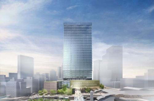 複合施設Aの東側イメージ(資料:NTT都市開発、鹿島、JR東日本、東急不動産)