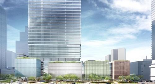 複合施設Aの低層部南側イメージ(資料:NTT都市開発、鹿島、JR東日本、東急不動産)