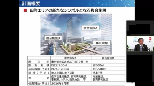 NTT都市開発(NTTUD)が代表企業を務める「NTTUD・鹿島・JR東日本・東急不動産グループ」がオンラインで会見した(資料:日経クロステック)