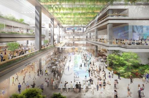 複合施設Aの低層部がメインストリートになる(資料:NTT都市開発、鹿島、JR東日本、東急不動産)