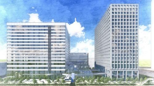 晴海通り側から見た新築2棟と広場のイメージ。右がA棟、左がB棟(資料:IHI、三菱地所)