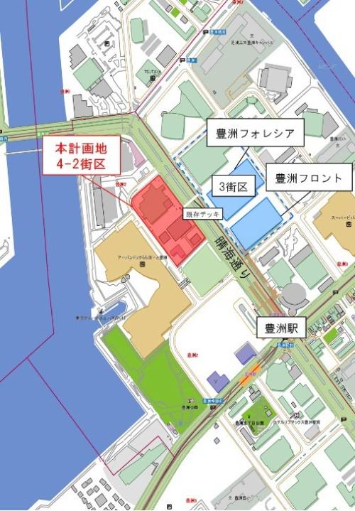 豊洲4-2街区の位置。歩行者デッキで向かいの3街区と行き来できるようにする(資料:IHI、三菱地所)