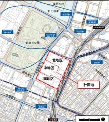 「内幸町1丁目街区」の位置。計画地は、北地区と中地区、南地区の3つに分かれる。帝国ホテル東京が立っているのは北地区(資料:NTT都市開発、公共建物、第一生命保険、帝国ホテル、東京センチュリー、東京電力パワーグリッド、NTT、日本土地建物、NTT東日本、三井不動産)