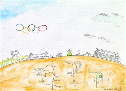 藤森氏が描いたパビリオン・トウキョウ2021のスケッチ。設置場所も描かれている(資料:パビリオン・トウキョウ2021)