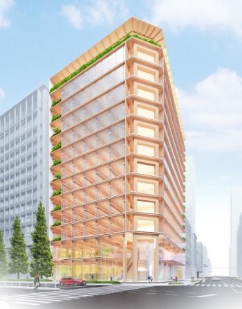新築する木造ハイブリッド構造の賃貸オフィスビルの外観イメージ(資料:第一生命保険、清水建設)