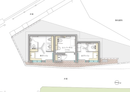 NIGO氏がデザインした「神宮前公衆トイレ」の平面図(資料:大和ハウス工業)