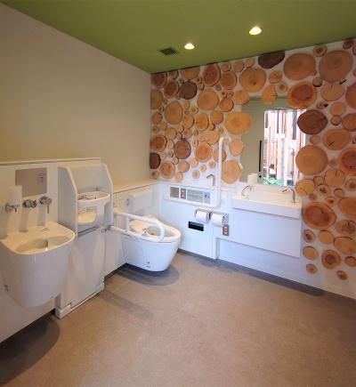 上の写真のトイレ内部。室面積は6.12m<sup>2</sup>と、かなり広い(写真:日経クロステック)
