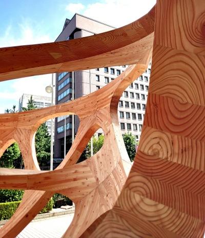集成材を3次元カットして組み合わせることで生まれる木の模様(写真:日経クロステック)