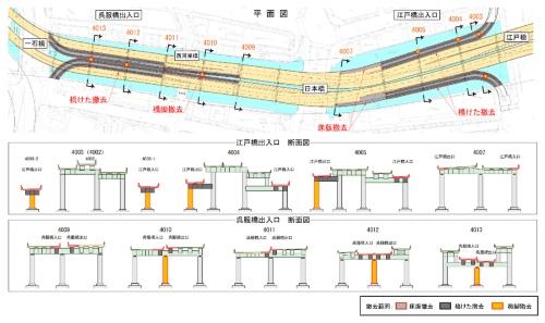 撤去する呉服橋出入口と江戸橋出入口(資料:首都高速道路会社)