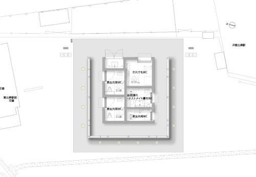 恵比寿駅西口公衆トイレの平面図。敷地面積は約40m<sup>2</sup>(資料:大和ハウス工業)