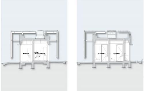 恵比寿駅西口公衆トイレの断面図(資料:大和ハウス工業)