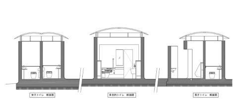 代々木八幡公衆トイレの断面図(資料:大和ハウス工業)