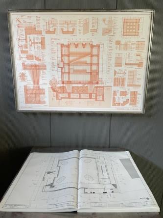 1階に展示していた設計図面(写真:日経アーキテクチュア)