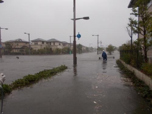 台風21号に伴う高潮・高波で浸水した南芦屋浜(兵庫県芦屋市)。9月4日午後2時過ぎに撮影(写真:芦屋市)