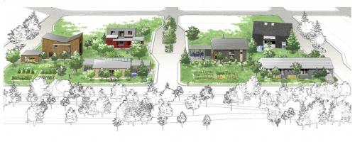 南東から見た「きた住まいるヴィレッジ住宅展示場」のパース図。それぞれの敷地は区画を千鳥模様に使い、間の一区画分の空地をコモンスペース的に活用する。左側奥のモデルハウスは未着工(資料:北海道)