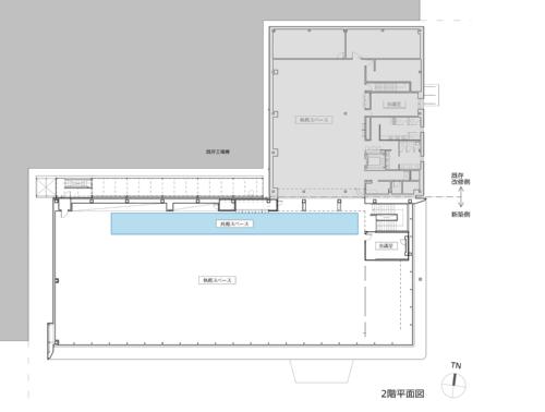2階平面図。既存棟(網かけ部分)と一体化させた(資料:プランテック総合計画事務所)