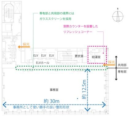 近畿産業信用組合新本店の基準階平面図(資料:大成建設)