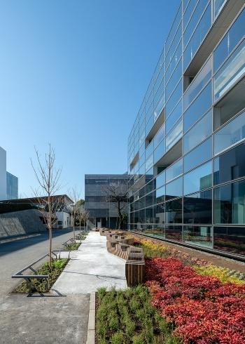 南面の外壁まわり。窓以外の外壁に設置した太陽光発電パネルを、発電素子の最高発電効率24%、太陽光発電モジュールの平均発電効率18%の高効率な部材に一新した(写真:大成建設)