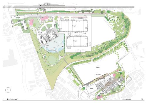ICI総合センターICIラボの全景。建物の中央に水景(アクアガーデン)を配した。掘削土を盛り土状の緑地にしたり、既存樹木を生かした里山を設けたりするなど地域の自然環境にも配慮した(資料:前田建設工業)