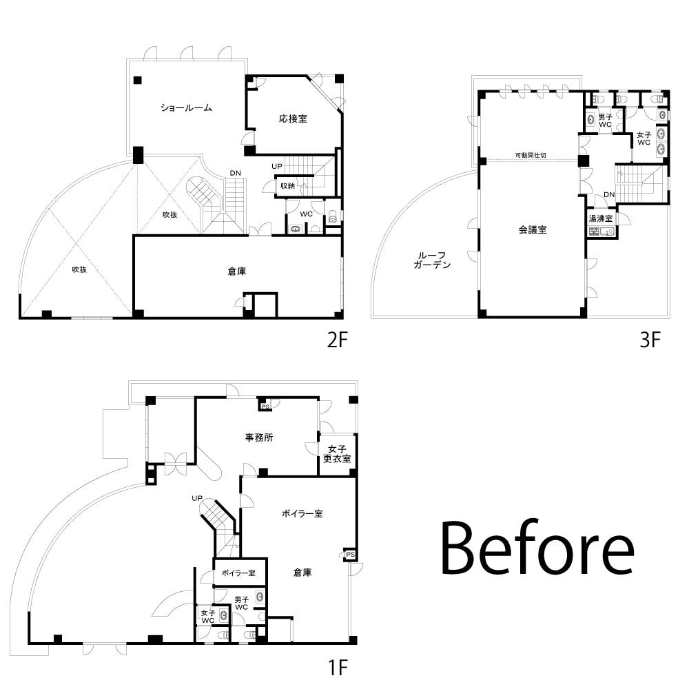 改修前の各階平面図(資料:棟晶)