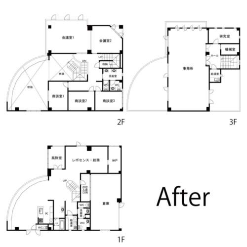 改修後の各階平面図(資料:棟晶)