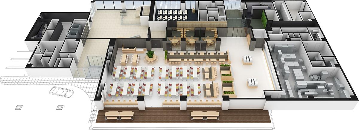 1階平面パース(資料:三菱電機)