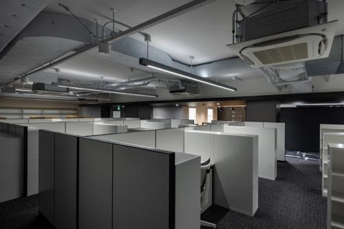 研究者の執務スペース。階高が低いため、天井をはがして空調などの設備を露出させた(写真:三井笑奈/川澄・小林研二写真事務所)