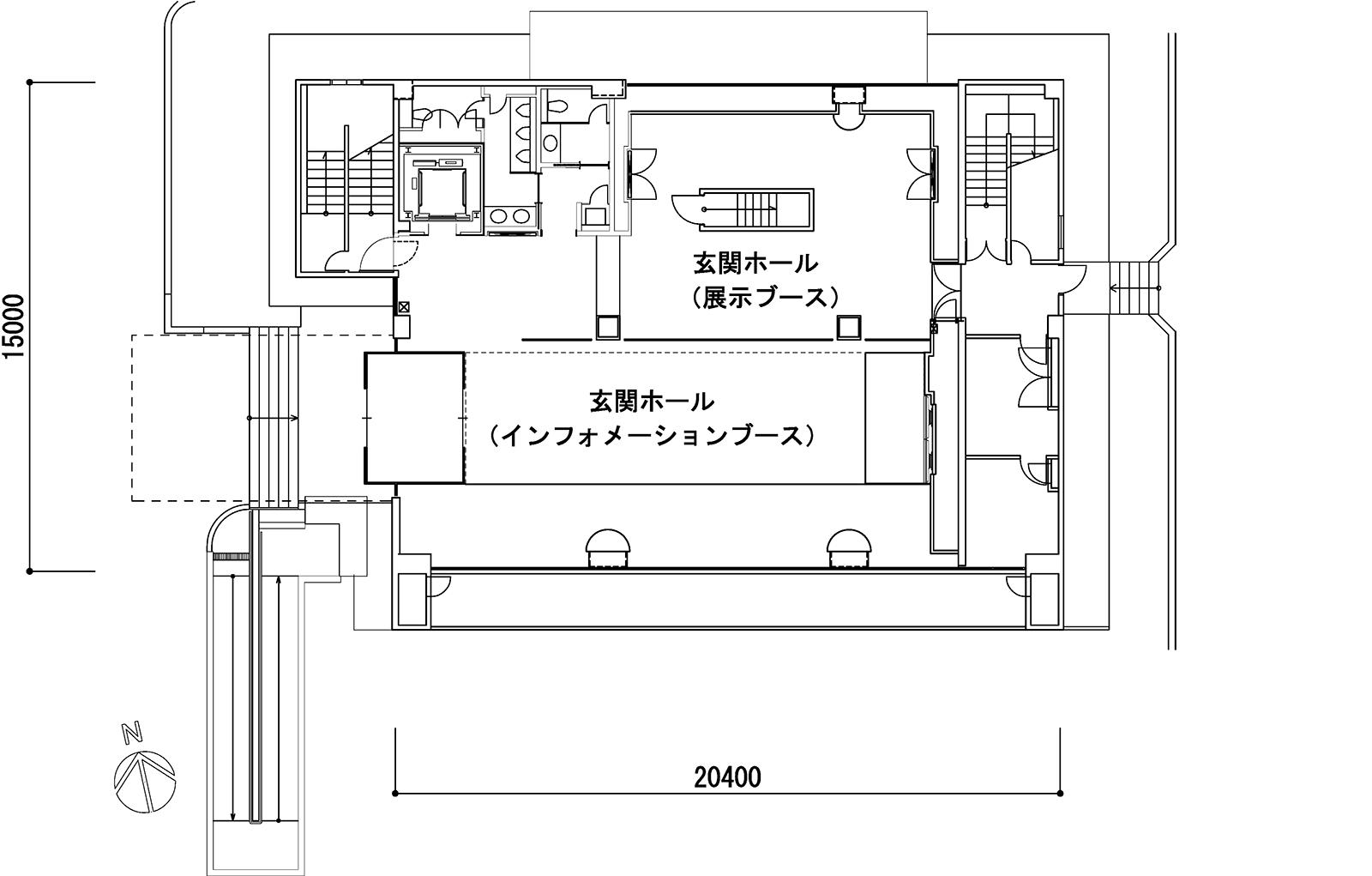 1階平面図。改修前にトイレがあった部分にエレベーターを新設し、トイレを移設拡張した。3、4階の執務フロアでは南側に個人席を並べ、北側に人が集まりやすい共用スペースを配した(資料:奥村組)