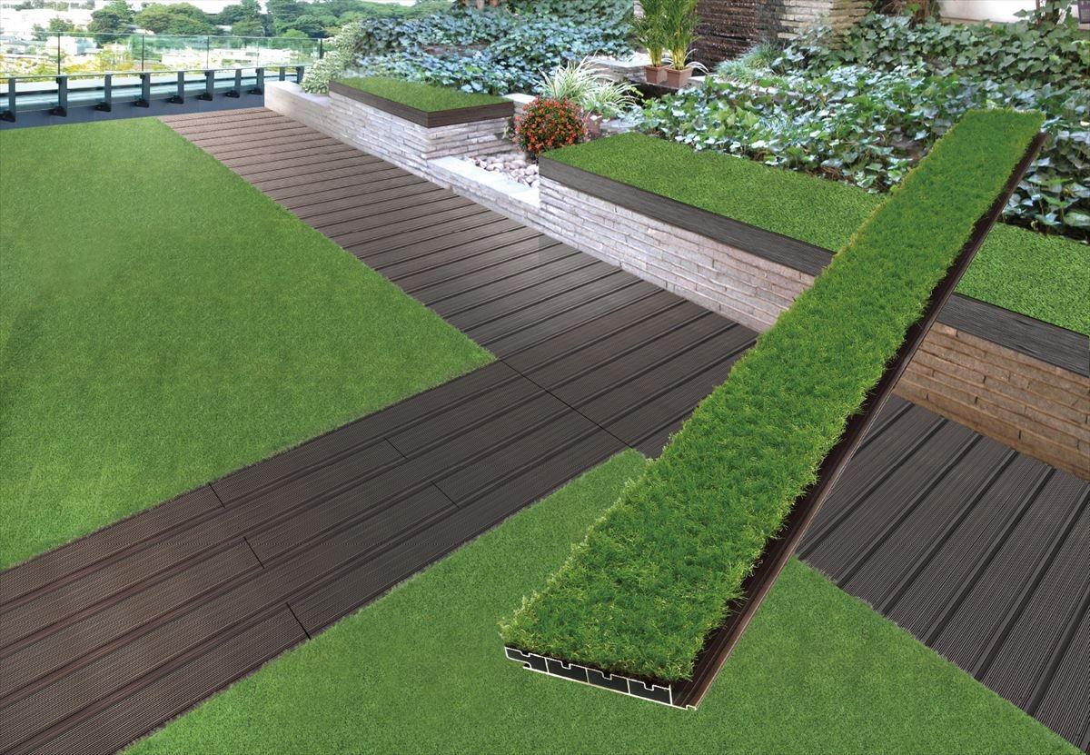 「選べるデッキプラス」の人工芝と竹を組み合わせた施工イメージ(資料:セイキ総業)