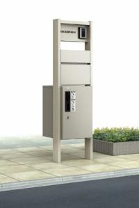 〔ピタットKey システム〕ルシアス宅配ボックス1型の機能ポール納まりの例(資料:YKK AP)