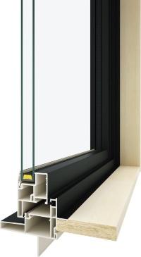 ブラックの樹脂フレームと複層ガラスを組み合わせる(資料:YKK AP)