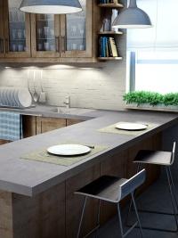 キッチン天板の施工例(資料:サンゲツ)