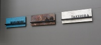 表札。右から「斑紋純銀色」「斑紋孔雀色」「斑紋ガス青銅色」(資料:三協立山)