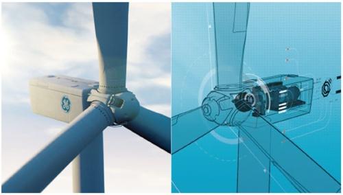 図1●風力発電用タービン(左)とそのデジタルツイン(右)のイメージ