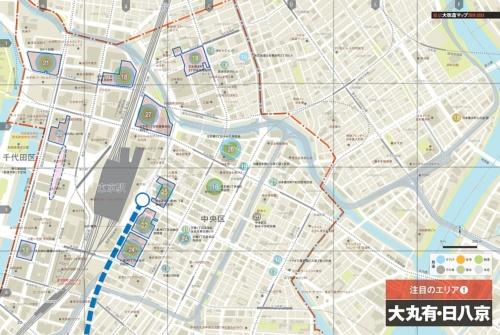 「東京大改造マップ2018-20XX」より。「大丸有(大手町・丸の内・有楽町)・日八京(日本橋・八重洲・京橋)」エリアのマップ。同書ではほかに、「虎ノ門・浜松町」「品川・田町」「有明・豊洲・晴海」「渋谷」「新宿」「池袋」「横浜」の各エリアに関して、オリジナルのマップを使いながら大規模開発プロジェクトの動向を解説している(資料:日経アーキテクチュア、地図制作:ユニオンマップ)