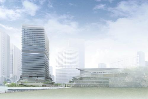 竹芝ウォーターフロント開発計画 1.港区海岸1-22-1ほか 2.東日本旅客鉄道 3.ジェイアール東日本建築設計事務所 4.高層棟:清水建設 5.2017年11月 6.2020年春 7.― 8.高層棟:地下2階・地上26階、劇場棟:地下1階・地上6階、駐車場棟:地下1階・地上10階 9.10万8500m2(出所:東日本旅客鉄道)