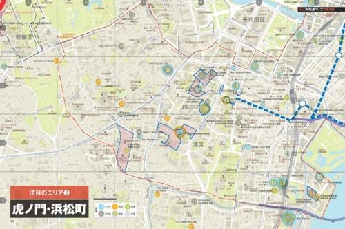 虎ノ門・浜松町エリアの大規模開発マップ。「東京大改造マップ2018-20XX」より(資料:日経アーキテクチュア、ユニオンマップ)