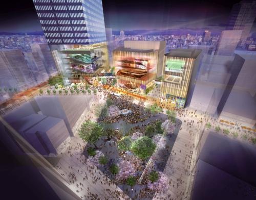 2019年完成予定の新区民センター(右側の棟)と20年完成予定の豊島プロジェクト(左側の2棟)。豊島区の旧庁舎および旧公会堂の跡地で一体の工事が進む(出所:豊島区)
