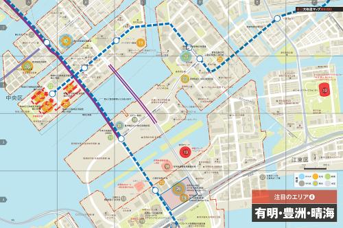 有明・豊洲・晴海エリアの大規模開発マップ。日経BP社から発売したムック「東京大改造マップ2018-20XX」より。赤色の部分は五輪関連施設(資料:日経アーキテクチュア、ユニオンマップ)