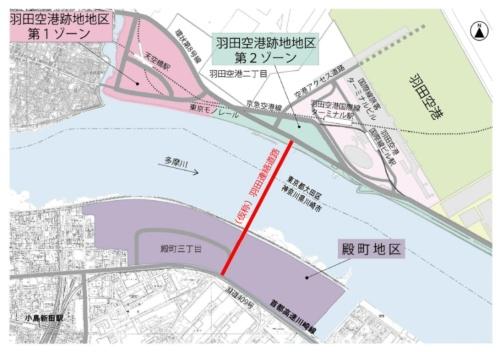 羽田連絡道路の位置図(資料:川崎市)