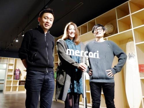 写真左からメルカリの濱田優貴取締役、tsumugの牧田恵里社長、メルカリの新規事業担当/マネージャーの井上雅意氏