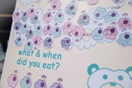 イベントで作成したボード。血糖値ごとに区域が分けられており、自分が食べたものを記入した紙を貼付していく(写真:小財美香子)