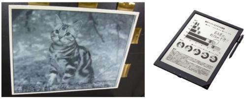 2009年に実証したフレキシブルa-Si TFT駆動e-Paper(写真左)と、この技術を用いた2013年発売のデジタルペーパー「DPT-S1」(写真右)